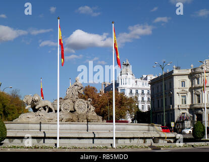 Stunning Fountain on the Plaza de Cibeles Square, the Iconic Symbol of Madrid, Spain - Stock Photo