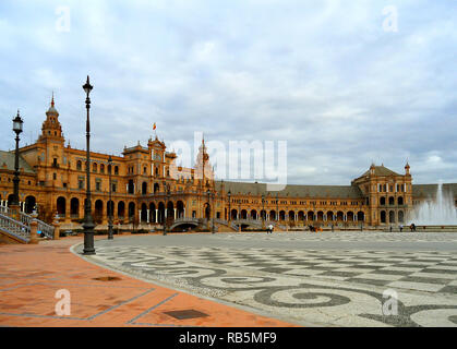 Plaza de Espana, Stunning Historic Square Built for the Ibero-American Exhibition or the Expo 29 in 1929, Seville, Spain, 24th Nov 2014 - Stock Photo