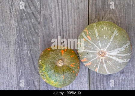 Two green-orange pumpkins on a wooden vintage grey background - Stock Photo
