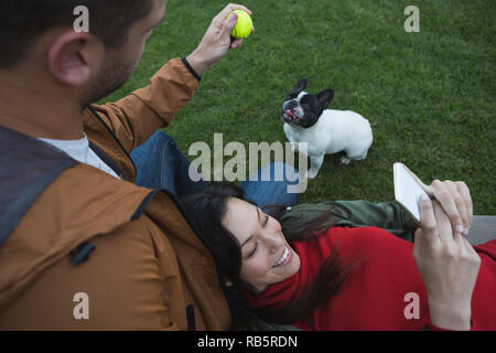 Man playing with his dog while woman using mobile phone - Stock Photo