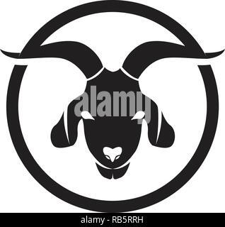 Goat black animals vector logo and symbol template - Stock Photo