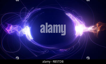 Abstract blue futuristic sci-fi plasma circular form with energy light strokes