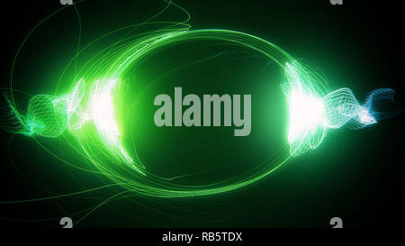 Abstract green futuristic sci-fi plasma circular form with energy light strokes