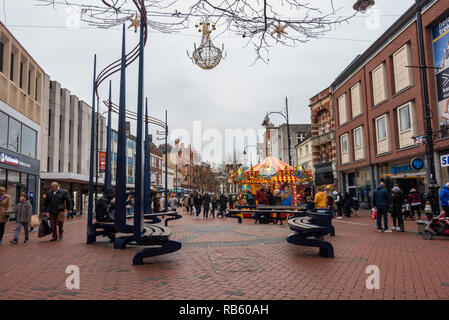 A view looking down Broad Street in Reading in January 2019 - Stock Photo
