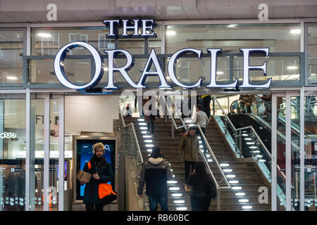 An entrance off Broad Street  into The Oracle Shopping Centre in Reading, Berkshire, UK - Stock Photo