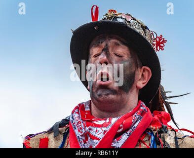 Haxey, Lincolnshire, England, UK – The Fool participates in the traditional ancient custom of The Haxey Hood since the 14th Century. - Stock Photo