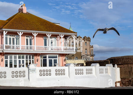 seaside hotels in Paignton,Torbay, Britain,south Devon hotel ,bucket-and-spade holiday hotel,paid lodging,Beach, Blue, Buoy, Coastline, Devon, England - Stock Photo
