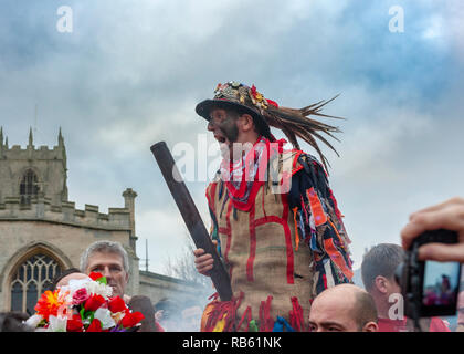 Haxey, Lincolnshire, England, UK – The Fool participates in the traditional ancient custom of The Haxey Hood since the 14th Century - Stock Photo