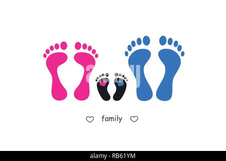 footprint mother baby and father vector illustration EPS10 - Stock Photo