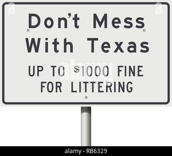 Vector illustration of the white Don't Mess With Texas road sign slogan - Stock Photo