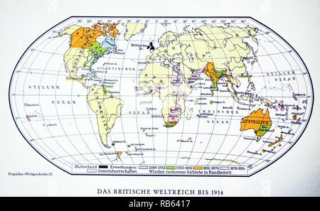 British world map 1914. World War One. - Stock Photo
