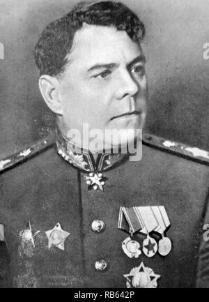 Aleksandr Mikhailovich Vasilevsky (1895 - 1977) was a Russian career officer in the Red Army who was promoted to the rank of Marshal of the Soviet Union in 1943. He was the Chief of the General Staff of the Soviet Armed Forces and Deputy Minister of Defense during World War II, as well as Minister of Defense from 1949 to 1953. As the Chief of the General Staff, Vasilevsky was responsible for planning and coordinating almost all decisive Soviet offensives in World War II, from the Stalingrad counteroffensive to the assault on East Prussia and Konigsberg. - Stock Photo