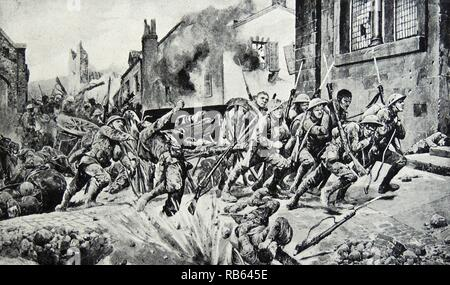 Illustration of dauntiless heroism of British guards that saved the day. Dated 1917 - Stock Photo