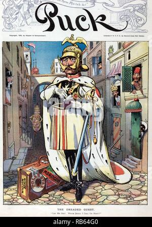 The dreaded guest by Carl Hassmann, 1905. William II, emperor of Germany, standing in the middle of a cobblestone street, in Italy (?) (the pope, wearing the papal crown, is walking down the street), taking a visiting card labeled 'Wilhelm' from a pouch in his left hand. The French flag is hanging above a door labeled 'RF', on the left. Austria appears to be the next door on the left, and other rulers lean out windows on both sides of the street. At William's feet is a suitcase with labels 'William Berlin, Hotel Britain, Polar Star, [and] Morocco'. - Stock Photo
