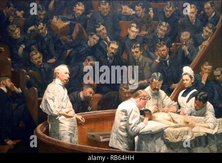 The Agnew Clinic by Thomas Eakins. The Agnew Clinic, or, The Clinic of Dr. Agnew, is an 1889 oil painting by American artist Thomas Eakins. commissioned to honor anatomist and surgeon David Hayes Agnew, on his retirement from teaching at the University of Pennsylvania - Stock Photo