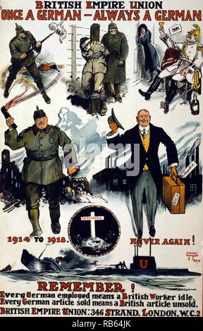 Poster showing caricatures of Germans, including wartime scenes of past violence, cruelty, and drunkenness, and then a charming German businessman of the day. Also a vignette of martyr Edith Cavell's grave and the caption, '1914 to 1918. Never again!' British Empire Union. 'Once a German, always a German.' Remember! Every German employed means a British worker idle. Every German article sold means a British article unsold by David Wilson 1918. - Stock Photo