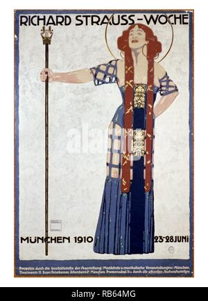Poster for a music festival celebrating Richard Strauss-Woche, depicting a woman holding a tall staff. Created by Ludwig Hohlwein (1874-1949). Dated 1910 - Stock Photo
