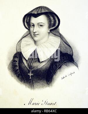 Mary, Queen of Scots (1542-1587). Lithograph, Paris, c1840. - Stock Photo