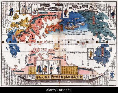 Japanese diptych print shows a map of the world with inset images of foreign people. . Bankoku jinbutsu no zu (People of many nations). 1800 and 1850 - Stock Photo