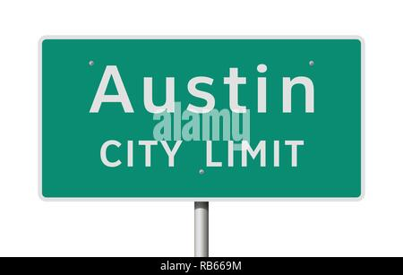 Vector illustration of the Austin (Texas) City Limits green road sign - Stock Photo
