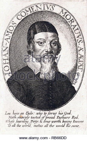 John Amos Comenius portrait, 1592 – 1670, was a Czech philosopher, pedagogue and theologian from the Margraviate of Moravia and is considered the father of modern education, etching by Bohemian etcher Wenceslaus Hollar from 1600s - Stock Photo