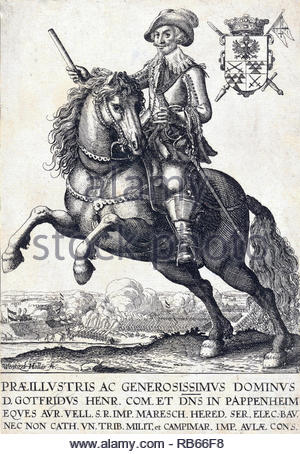 Count Pappeneheim, 1594 – 1632, was a field marshal of the Holy Roman Empire in the Thirty Years' War, etching by Bohemian etcher Wenceslaus Hollar from 1600s - Stock Photo