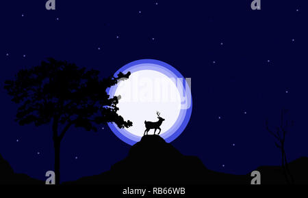 Reindeer silhouette on gradient lights with glittery starry background creates a dreamy background in this image. Nature wallpaper of night wildlife. - Stock Photo