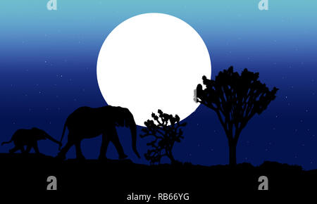 Silhouette of mother and baby elephants on night background. African nature landscape on blue gradient background illustration. Elephants at sunset. - Stock Photo