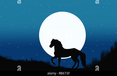 Silhouette of horse on a blue gradient background. Scenery of jungle at night.Romantic jungle night illustration.Wild horse with moon night landscape. - Stock Photo