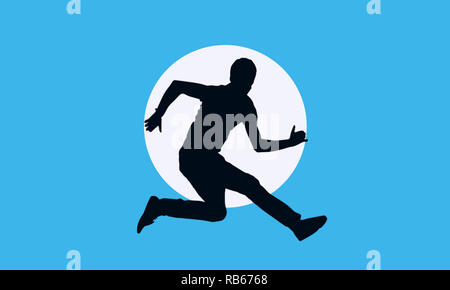 Man Running illustration with sleek blue background and shadow image with deep clarity,best usage for UX UI web banner,sports promotional events. - Stock Photo