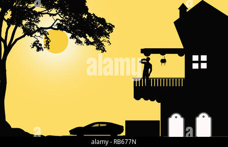 Scene from a urban morning life. Bungalow illustration on yellow background with big car parking. Lonely man standing at patio and drinking juice. - Stock Photo