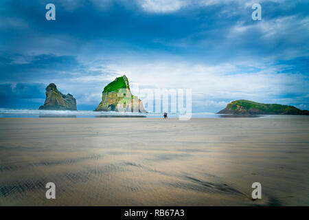 WHARARIKI BEACH, NEW ZEALAND - OCTOBER 5 2018; Two small figures of walkers in distance and three islands   on Wharariki Beach on overcast day in mood