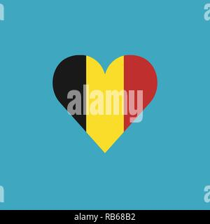 Belgium flag icon in a heart shape in flat design. Independence day or National day holiday concept. - Stock Photo