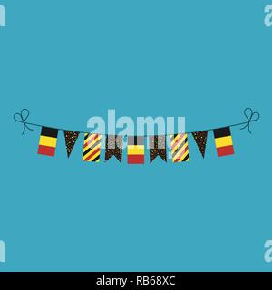 Decorations bunting flags for Belgium national day holiday in flat design. Independence day or National day holiday concept. - Stock Photo