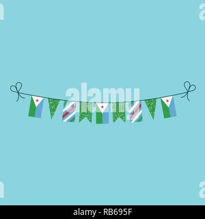 Decorations bunting flags for Djibouti national day holiday in flat design. Independence day or National day holiday concept. - Stock Photo