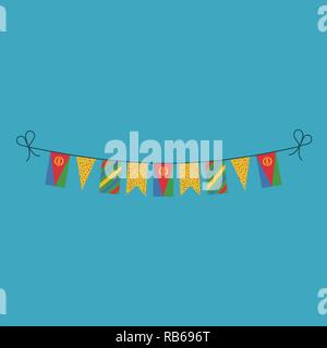 Decorations bunting flags for Eritrea national day holiday in flat design. Independence day or National day holiday concept. - Stock Photo