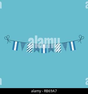 Decorations bunting flags for Honduras national day holiday in flat design. Independence day or National day holiday concept. - Stock Photo