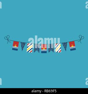 Decorations bunting flags for Kiribati national day holiday in flat design. Independence day or National day holiday concept. - Stock Photo