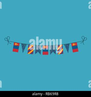 Decorations bunting flags for Mongolia national day holiday in flat design. Independence day or National day holiday concept. - Stock Photo