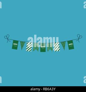 Decorations bunting flags for Saudi Arabia national day holiday in flat design. Independence day or National day holiday concept. - Stock Photo