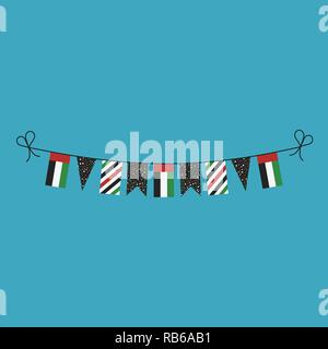 Decorations bunting flags for United Arab Emirates national day holiday in flat design. Independence day or National day holiday concept. - Stock Photo