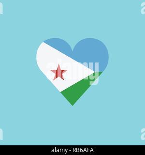 Djibouti flag icon in a heart shape in flat design. Independence day or National day holiday concept. - Stock Photo