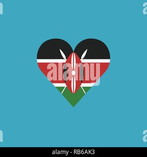 Kenya flag icon in a heart shape in flat design. Independence day or National day holiday concept. - Stock Photo