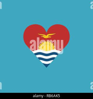 Kiribati flag icon in a heart shape in flat design. Independence day or National day holiday concept. - Stock Photo