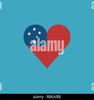Samoa flag icon in a heart shape in flat design. Independence day or National day holiday concept. - Stock Photo