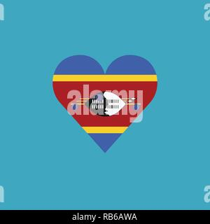 Swaziland flag icon in a heart shape in flat design. Independence day or National day holiday concept. - Stock Photo