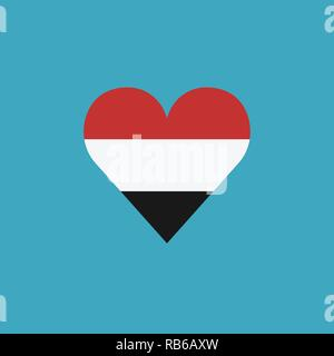 Yemen flag icon in a heart shape in flat design. Independence day or National day holiday concept. - Stock Photo