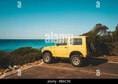 Eagle bay beach carpark whilst road tripping through south west Australia - Stock Photo