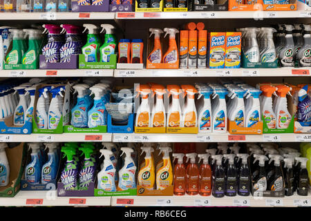 Cleaning products on sale at a Sainsburys supermarket, UK - Stock Photo