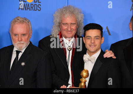 Beverly Hills, USA. 06th Jan, 2019. LOS ANGELES, CA. January 06, 2019: Brian May, Rami Malek & Roger Taylor at the 2019 Golden Globe Awards at the Beverly Hilton Hotel. © 2019 JRC Photo Library/PictureLux ALL RIGHTS RESERVED. Credit: PictureLux / The Hollywood Archive/Alamy Live News - Stock Photo